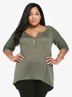 Lace Illusion Henley Top Torrid 34.50