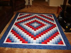 I just put the last border on this Trip Around the World quilt, which will be a Quilt of Valor after I get it sandwiched and quilted. Red And White Quilts, Blue Quilts, Small Quilts, Flag Quilt, Patriotic Quilts, Quilt Blocks, Quilting Projects, Sewing Projects, Quilting Ideas