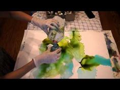 art-journal page alcohol ink 1 - YouTube