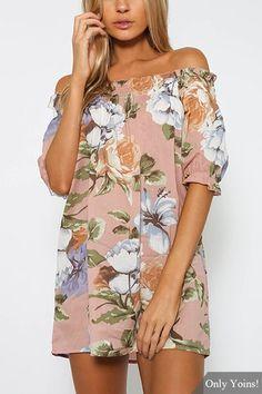 Off Shoulder Random Floral Print Dress