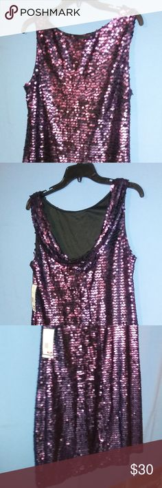 NWT Jessica Howard purple sequined evening dress Sleeveless purple sequined dress.  Black lining and scooped back.  Dazzling, fun evening wear. Jessica Howard Dresses Mini