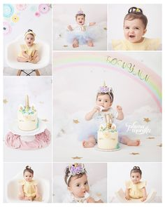 los angeles baby first birthday photographer, unicorn rainbow themed one year cake smash