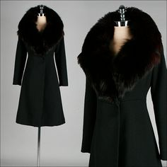 Vintage 1970s Coat  Black Wool  Fox Fur by Mill Street Vintage