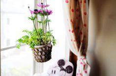 linen yarn plant holder diy