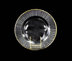"Ray Pattern Gold Rim, Glass 13"""
