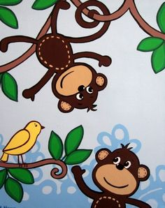 Art for Children - Two Monkeys and a Bird, 16x20 Acrylic on Canvas