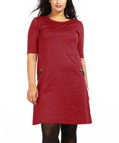Look at this #zulilyfind! Red Ninon Zipper Pocket Dress - Plus #zulilyfinds
