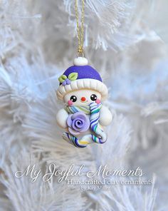 Handcrafted Polymer Clay Snowman Ornament by MyJoyfulMoments
