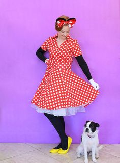 Cute DIY Minnie Mouse costume for adult. You'll love these modest Halloween costumes for women, modest Halloween costumes for teens, and easy modest Halloween costumes that you can wear for work and for school. Minnie Mouse Halloween Costume, Easy Halloween Costumes For Women, Last Minute Halloween Costumes, Diy Costumes, Adult Costumes, Halloween Party, Costume Ideas, Halloween Crafts, Halloween Ideas