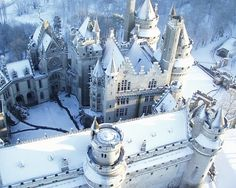 Breath taking Castle in Winter.  Chateau de Pierrefonds, France.