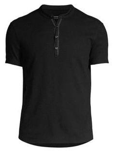 John Varvatos Taylor Short-sleeve Henley Shirt In Black John Varvatos, Henley Shirts, Mens Clothing Styles, Short Sleeves, Mens Fashion, Mens Tops, Clothes, Popular, Star