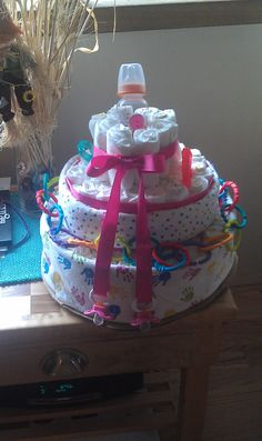 Baby Girl Diaper Cake for a Baby Shower