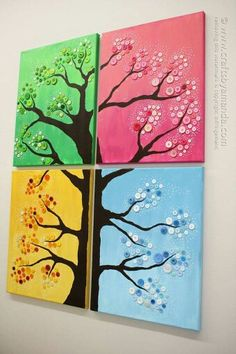 Four Season Button Tree by Amanda Formaro / Crafts by Amanda. This button tree wall art is made from four canvases, paint and colorful buttons. Get step by step instructions so you can make button tree wall art too! Art Diy, Diy Wall Art, Canvas Wall Art, Button Tree Art, Button Tree Canvas, Button Wall Art, Cuadros Diy, Kids Canvas, Metal Tree Wall Art