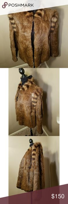 Real Fur Jacket Gently used Brown rex rabbit fur jacket with fox trim at the shoulders and collar.  No rips or tears. Minimal shedding. lining in tact with vague discoloration spots. 3 hook & loop closures middle hook missing. 2 outer pockets with 1 inside pocket.  Super cute other Jackets & Coats Capes