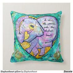 Shop Elephantheart pillow created by Elephantheart. Custom Pillows, Decorative Throw Pillows, Elephant Throw Pillow, House Colors, Applique, Knitting, Cute, Fabric, Home Decor