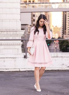 Feminine classy blush dress, bell sleeves dress, Create Cultivate Seattle, Tina of Just A Tina Bit, Seattle fashion blogger, Eliza J dresses Blush Dresses, Fall Dresses, Birthday Outfit For Women, Seattle Fashion, Feminine Style, Feminine Fashion, Classy Style, Casual Fall Outfits, Casual Clothes