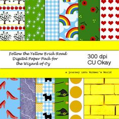 Wizard of Oz Digital Scrapbook Papers Yellow Brick Road Digital Paper Pack, Party Invitations, Scrapbooking and More