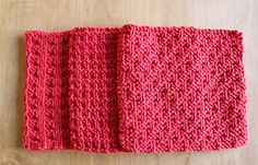 Ravelry: Three Dishcloths pattern by Joan Janes.  Made a ton of these.  Patterns are more predominate in solid colors.