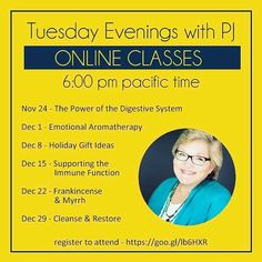 Join me tonight for a fabulous class on essential oil uses for the holidays! These will be available on these Tuesday nights only. Sorry no recording available. Let me know if you have any questions! Registration link on image. Text me at 2532213592 or email me at joyce@pureessentialoil.biz. #essentialoils #doterra #pureeos