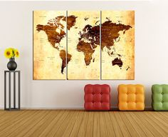 Canvas prints add a unique touch to your home. Modern, stylish and unique design will be the most special piece of your decor. Especially for those who like abstract works, black and white acrylic painting can be prepared in desired sizes  Old world map wall art canvas print Push Pin for travel map, large world map wll art push pin ready to hang for large wall art No:6S00  i designed the watercolor map on photoshop. you will receive high resulation canvas print   ◆ GALLERY WRAPPED CANVASES…