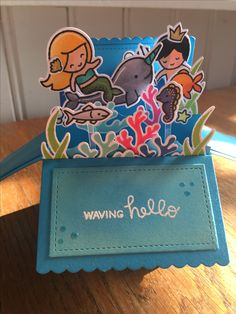 #Lawn Fawn #Scalloped box card pop-up #Mermaid for you