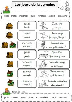 les jours de la semaine Teaching French, Great Words, Learn French, Activities For Kids, Language, Teacher, Math, Learning, School