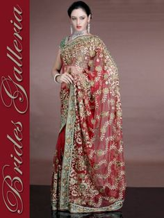 Red Banarsi Bridal Wedding Dulhan Saree Design 2013