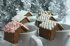 """How cool? A hot drink with a gingerbread house garnish! From Facebook page """"A Slice of Life"""""""