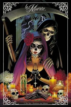 La Muerta: Pin Ups - Premium Foil Edition-Interiors: Various (pin up art book)Cover: Matt Merhoff Feast your eyes on imagery drawn from the lush, dark side of Chicano Culture: Day of The Dead, Sugar Skulls, Calavera, Santa Muerte - all served up b Lettrage Chicano, Chicano Tattoos, Aztecas Art, Day Of The Dead Artwork, Azteca Tattoo, Graffiti Tattoo, Sugar Skull Art, Sugar Skulls, Arte Obscura
