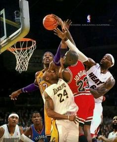 Michael Jordan VS Kobe Bryant, LeBron James, Dwight Howard, Kevin Durant,Carmelo Anthony and James Harden Michael Jordan Basketball, Kobe Bryant Michael Jordan, Jordan Swag, Basketball Legends, Sports Basketball, Basketball Players, Custom Basketball, Basketball Design, Nba Memes