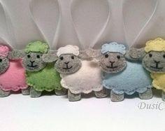 Felt Sheep ornament, wool felt Lamb ornament, pastel Easter decor, yellow blue white pink sheep, pastel decoration Easter lamb - 1 ornament