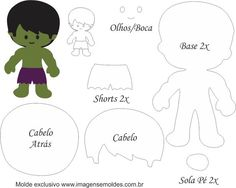 Molde Personagens Hulk - Molde para Feltro - EVA e Artesanato, Molde Personagens Hulk - Molde para EVA - Feltro e Artesanato Quiet Book Templates, Felt Templates, Printable Templates, Free Printable, Felt Patterns, Stuffed Toys Patterns, Fabric Dolls, Paper Dolls, Hero Crafts