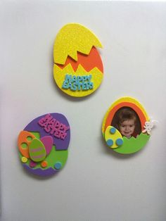 Foam crafts made into magnets Foam Sheet Crafts, Foam Crafts, Crafts To Make, Arts And Crafts, Craft Kits For Kids, Spring Crafts For Kids, Art For Kids, Easter Egg Crafts, Easter Eggs