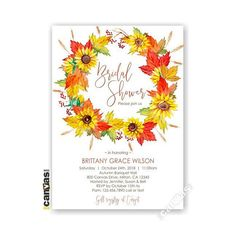Fall Wreath Bridal Shower Invitation Sunflower Autumn Engagement Party Invites Dinner Watercolor Printable or Printed FREE SHIPPING 22 Engagement Party Invitations, Bridal Shower Invitations, Invites, Fall Engagement, Favor Tags, Printing Services, Place Cards, Printables, Wreaths