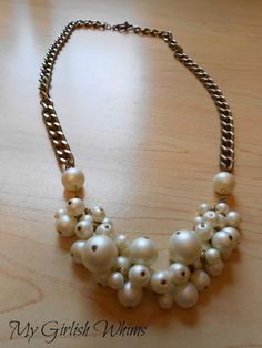 DIY Necklace  : DIY Pearl Cluster Chain Necklace