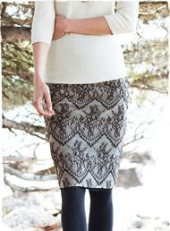 Perfect for holiday fêtes, the slim pencil skirt  is sewn in two layers—black and pearl lace is lined with black georgette.  Rayon (59%) and nylon (41%). Back vent; back zipper.