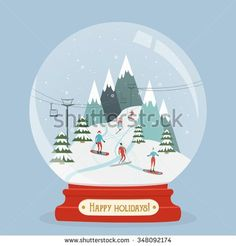 Snow globe with mountain ski area. Fabulous glitter snowball with ski resort landscape and people entertain winter sports. Happy holidays greeting card. Vector