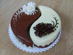 The Yin Yang cake from El Pancito in Raleigh NC Fondant Cakes, Cupcake Cakes, Different Cakes, Just Cakes, Specialty Cakes, Cake Decorating Tips, Occasion Cakes, Food Cakes, Love Cake