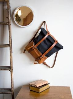 SALE Leather and Waxed Canvas Backpack Roll Top by AwlSnap on Etsy