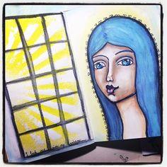 Practicing three quarter faces. #mixedmedia #artjournal #whimsical #portrait #artoninstagram #irisimpressionsart