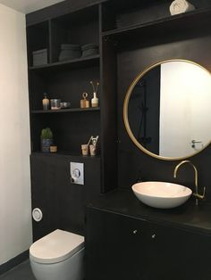 "Dark nordic minimalistic bathroom by Charlotte & Fredrik from the Danish tv-program ""Nybyggerne"""