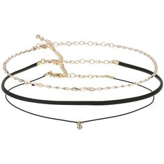 Miss Selfridge Three Cord and Chain (£8.75) ❤ liked on Polyvore featuring jewelry, necklaces, black, chain necklace, metal chain necklace, metal jewelry, choker jewelry and choker necklace