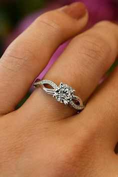 round engagement rings twist white gold simple stone