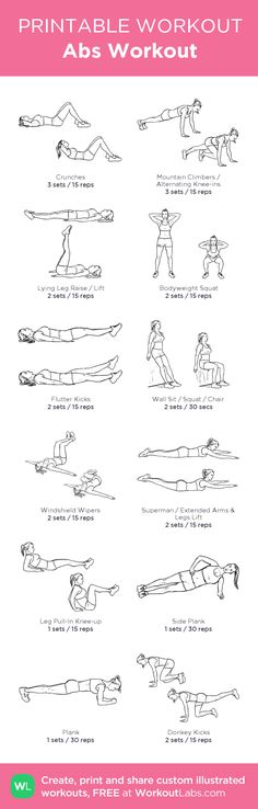 Abs Workout:my visual workout created at WorkoutLabs.com • Click through to customize and download as a FREE PDF! #customworkout