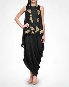 Black & Gold Cape - KAVITA BHARTIA - Designers