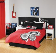 (Click to order - $148.99) Red Black Guitar Comforter Bedding Set Twin From comforter