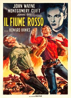 RED RIVER (1948) - John Wayne - Montgomery Clift - Directed by Howard Hawks - United Artists - Italian movie poster.