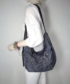 e47a09f3e474 Denim bag cross body and shoulder slouchy hobo up-cycled jeans gray