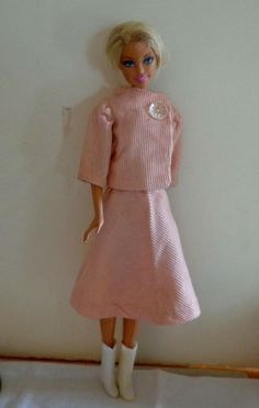 Barbie doll Clothing item Pink /& White Check Vintage Praire Style Skirt