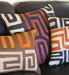 African Kuba Cloth Pillows with Inserts - Home Decor Handmade in Africa - Swahili Modern - 9 African Interior, African Home Decor, African Textiles, African Patterns, Handmade Home Decor, Wabi Sabi, Home Furnishings, Home Accessories, Home Improvement